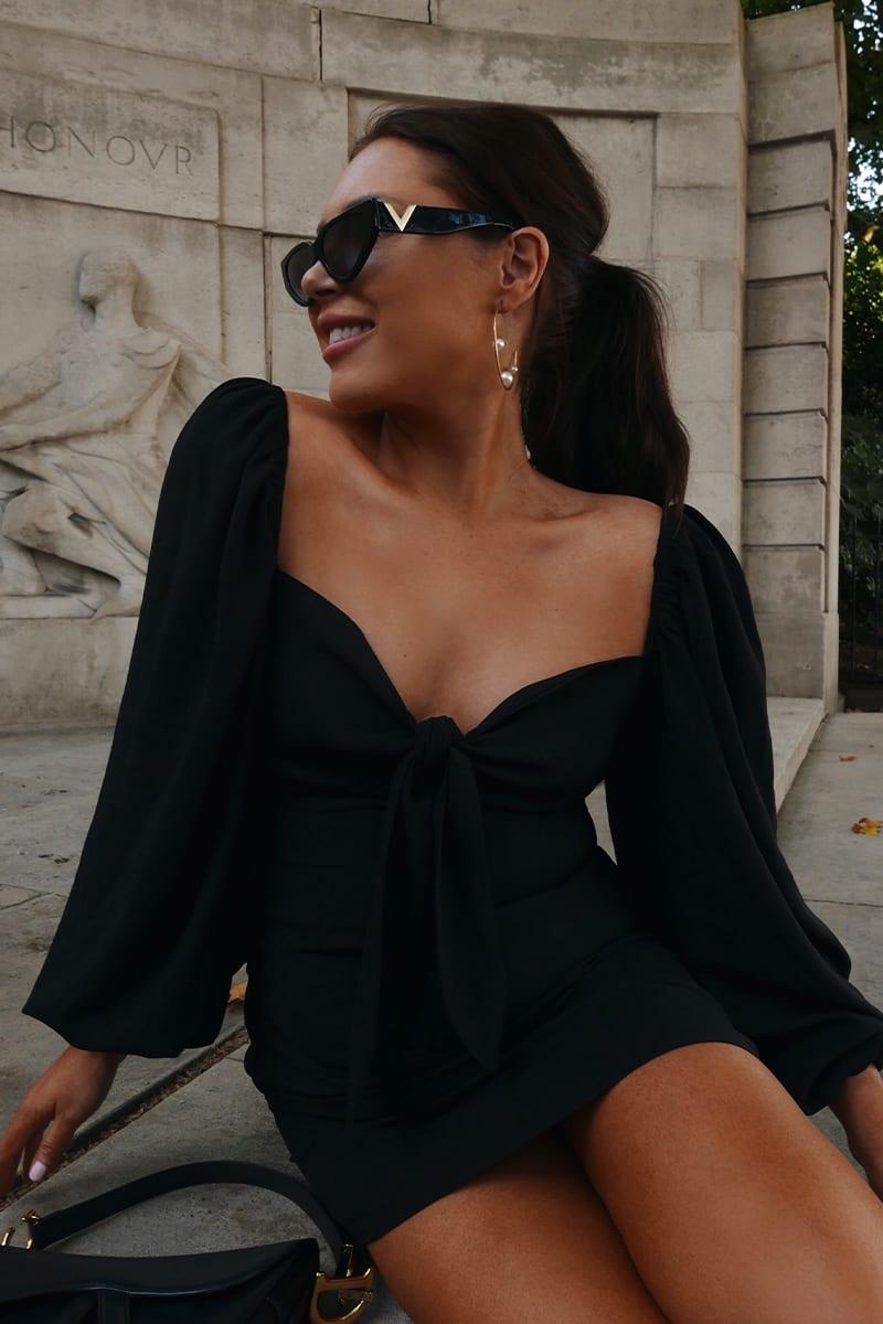LORNA LUXE 'ROYAL DRAMA' BLACK PUFF SLEEVE MINI DRESS