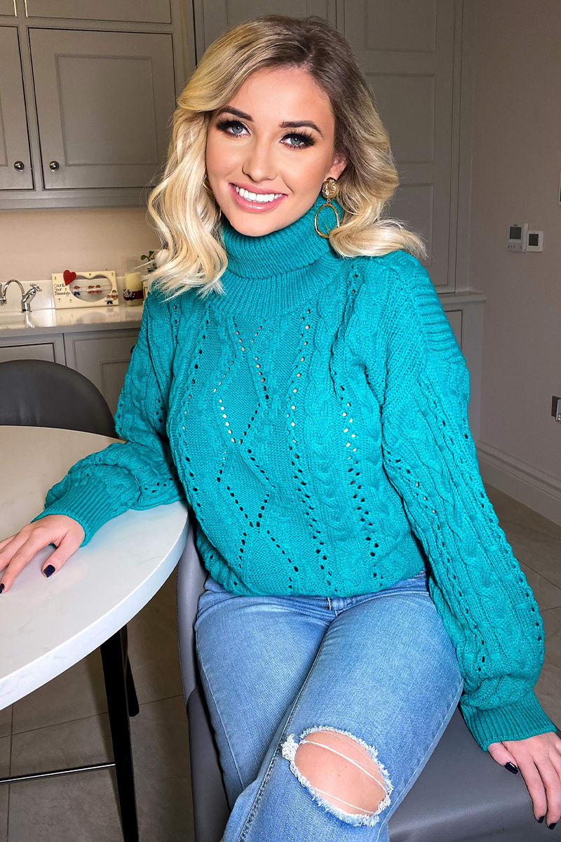 JADE GREEN CABLE ROLL NECK CROPPED JUMPER