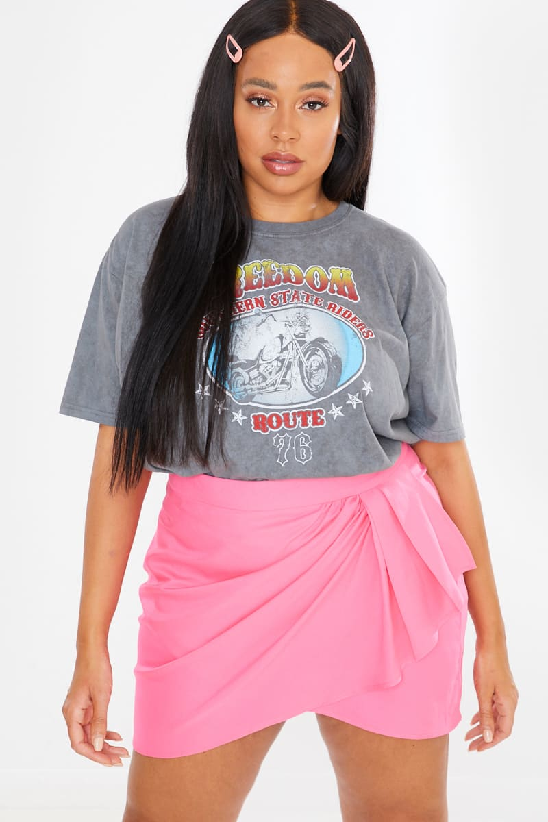 CURVE CHARLOTTE CROSBY PINK WRAP DRAPED FRONT MINI SKIRT
