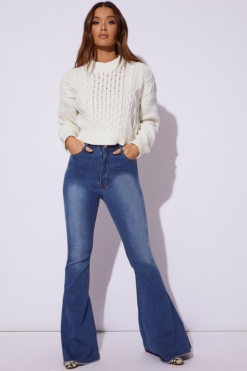 blue denim extreme flare jeans