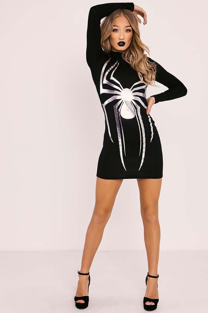METALLIC SILVER HALLOWEEN SPIDER BODYCON DRESS
