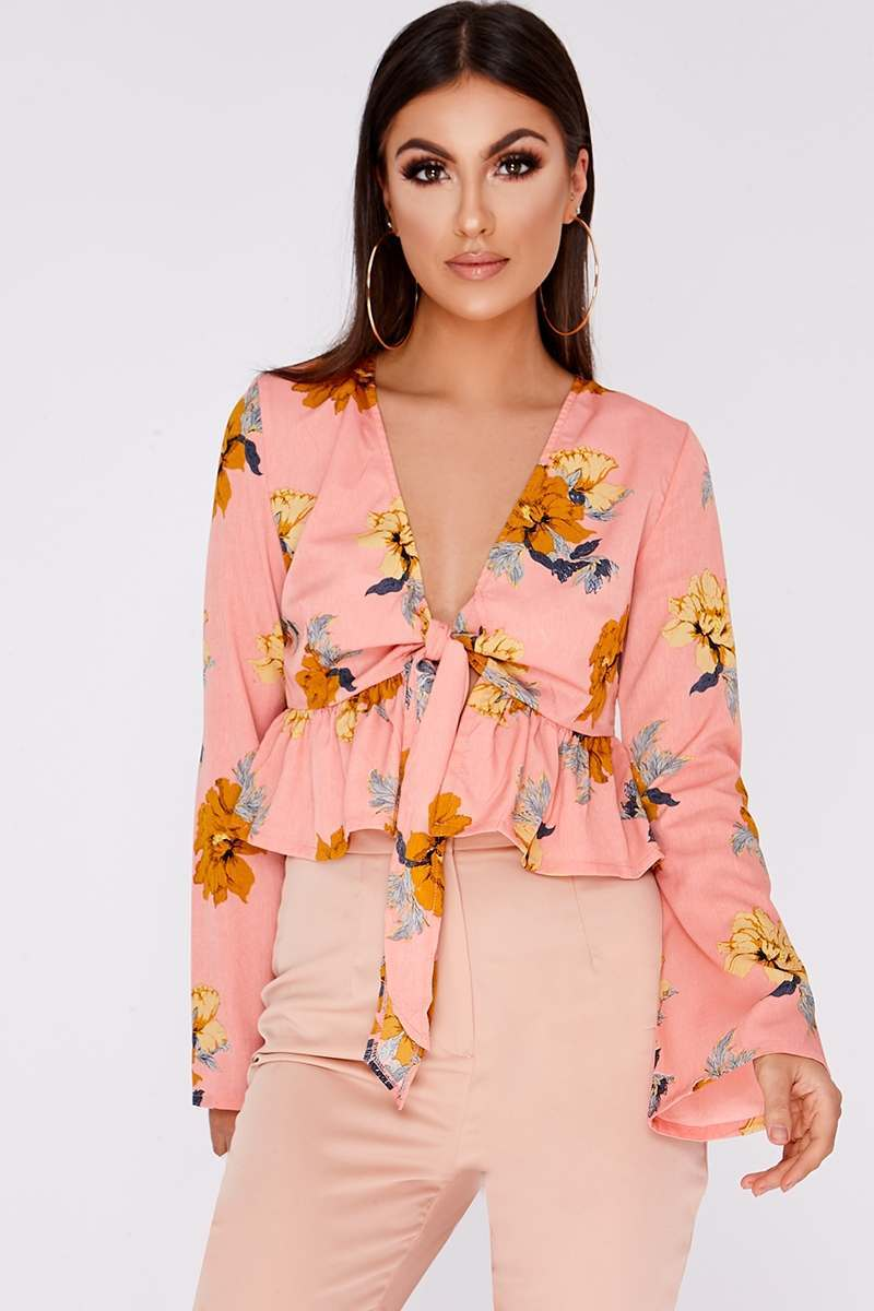 pink floral tie front blouse