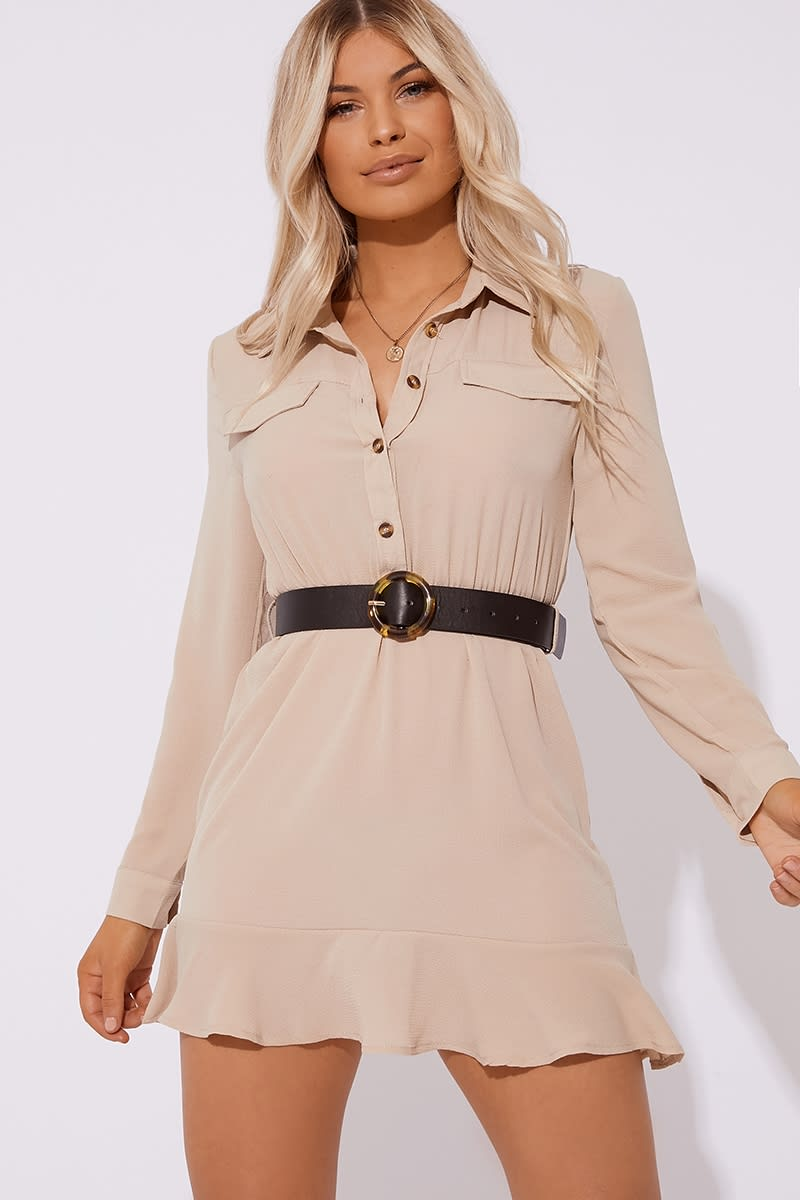 stone horn button frill hem mini dress