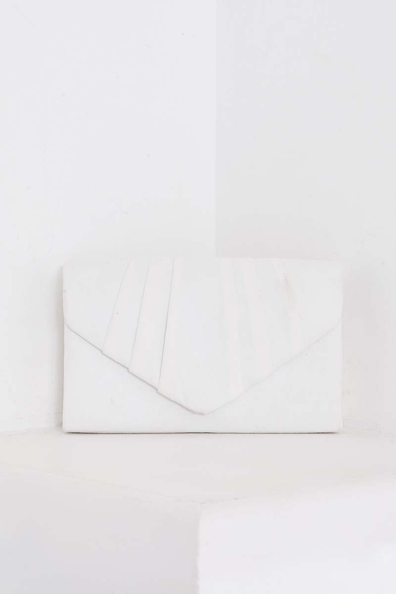 WHITE FAUX SUEDE FOLD OVER CLUTCH BAG