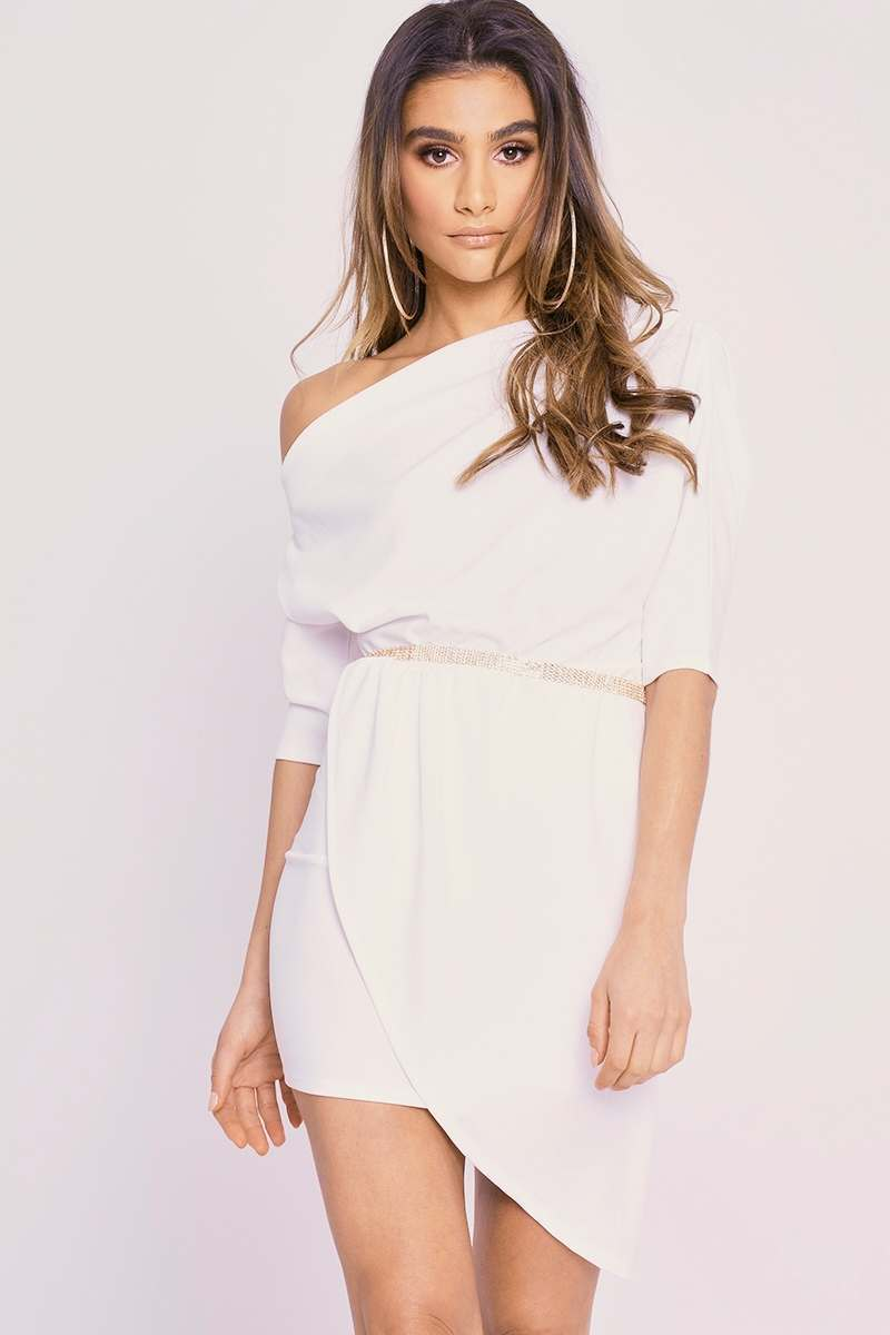 CHARLOTTE CROSBY CREAM OFF THE SHOULDER ASYMMETRIC RUCHED DRESS