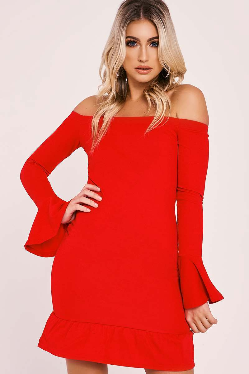 GIADA RED BARDOT FRILL BODYCON DRESS