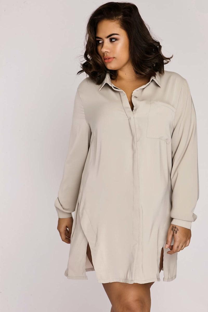 CURVE BINKY LIGHT GREY SPLIT FRONT SHIRT DRESS