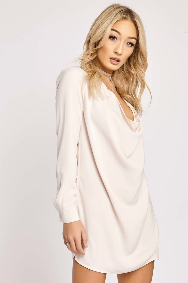 BINKY NUDE COWL FRONT SHIRT DRESS