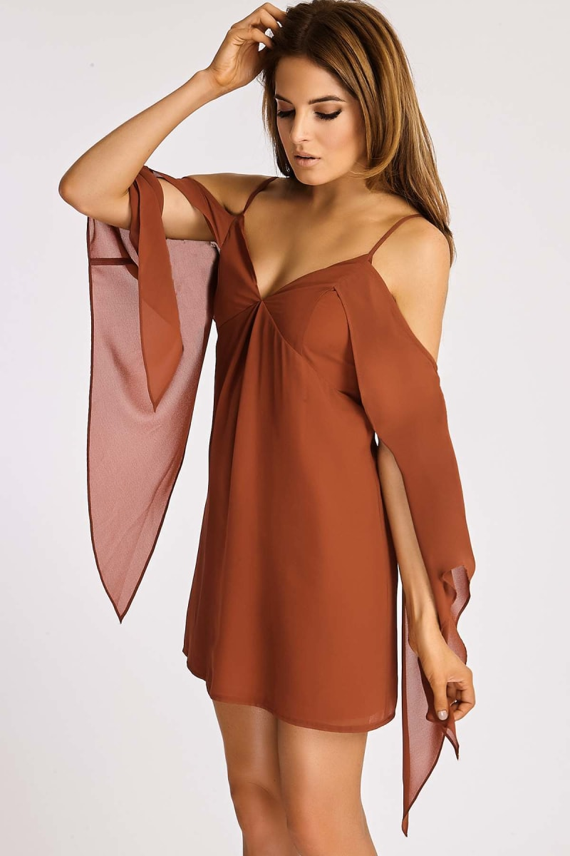 Binky Rust Cold Shoulder Cape Sleeve Cami Dress