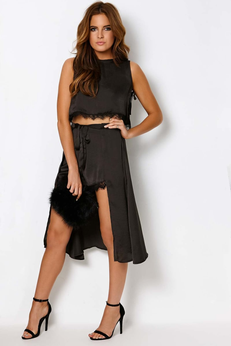 Binky Black Satin Lace Trim Overlay Shorts