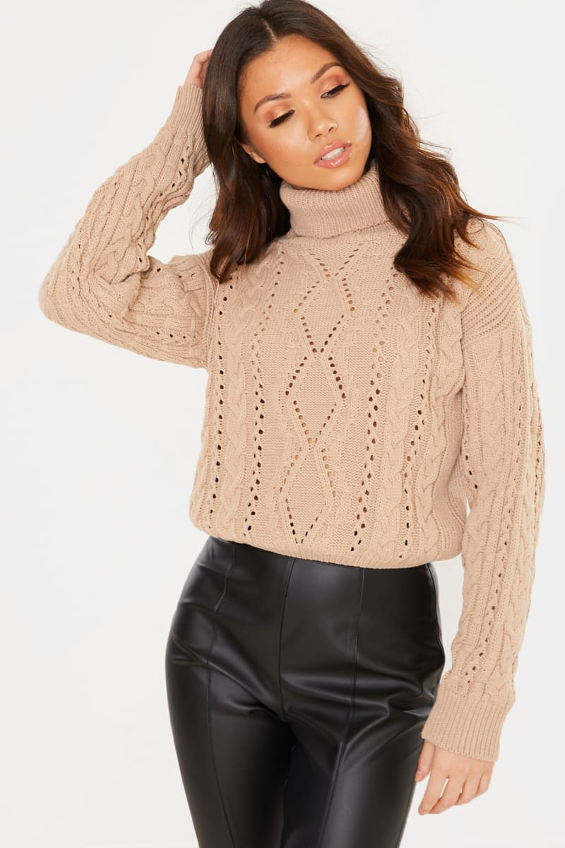 CAMEL CABLE ROLL NECK CROPPED JUMPER
