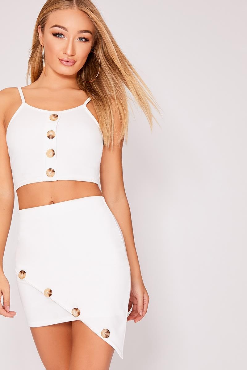 white horn button asymmetric co-ord mini skirt