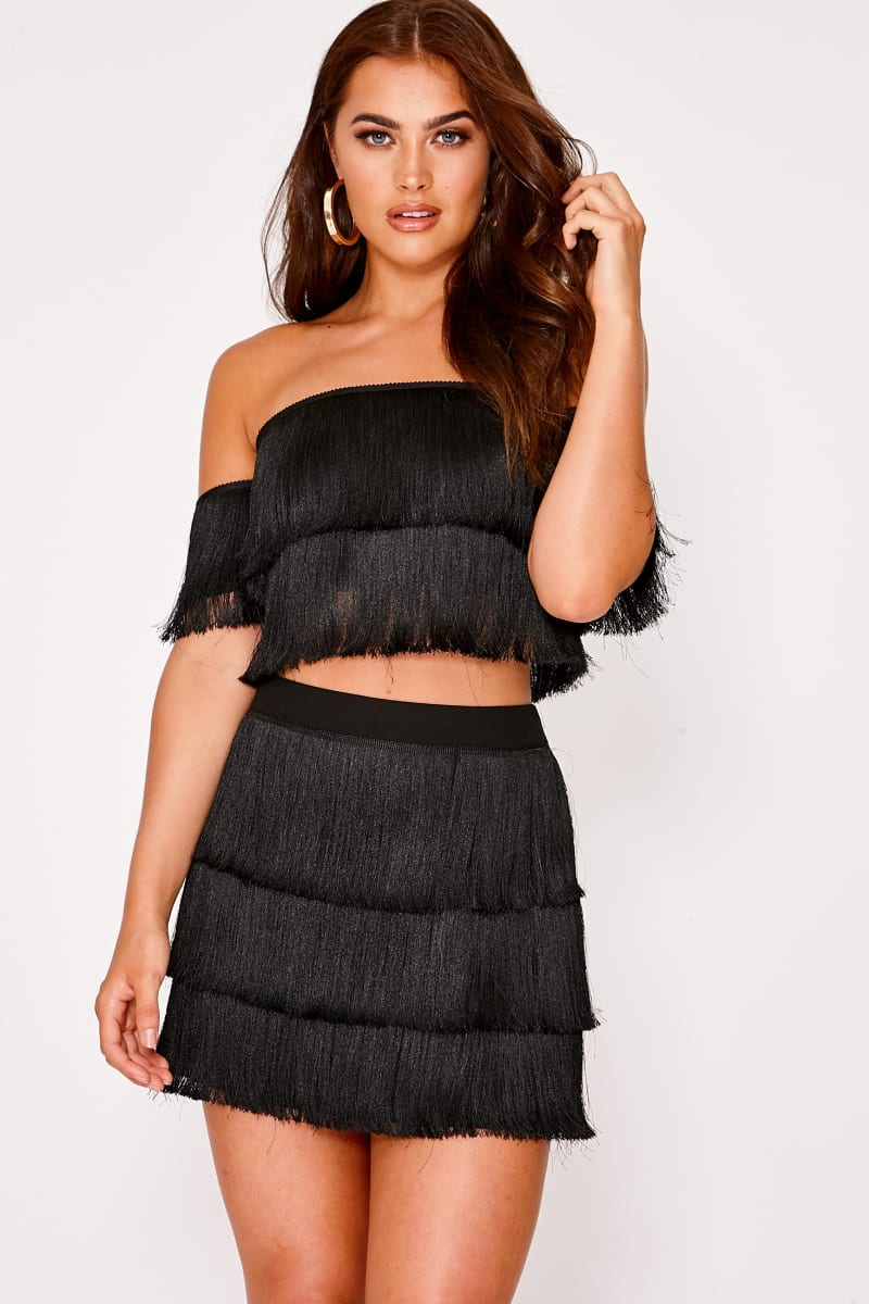 black tassel co-ord skort
