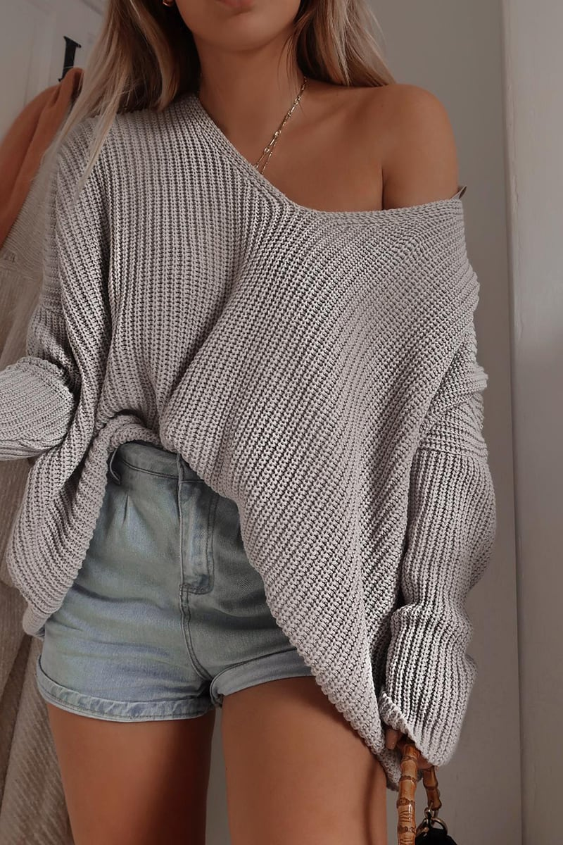 FASHION INFLUX GREY SLOUCHY JUMPER