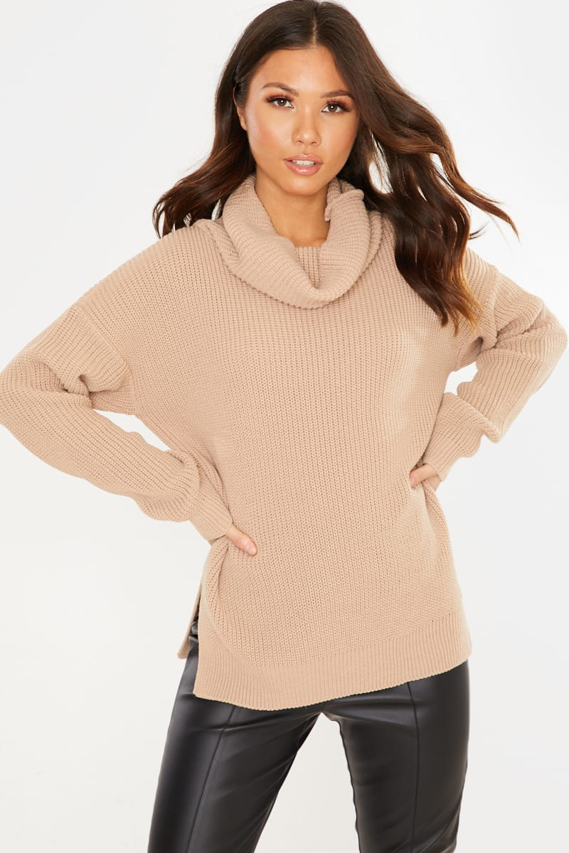 Camel Roll Neck Slouchy Jumper by In The Style