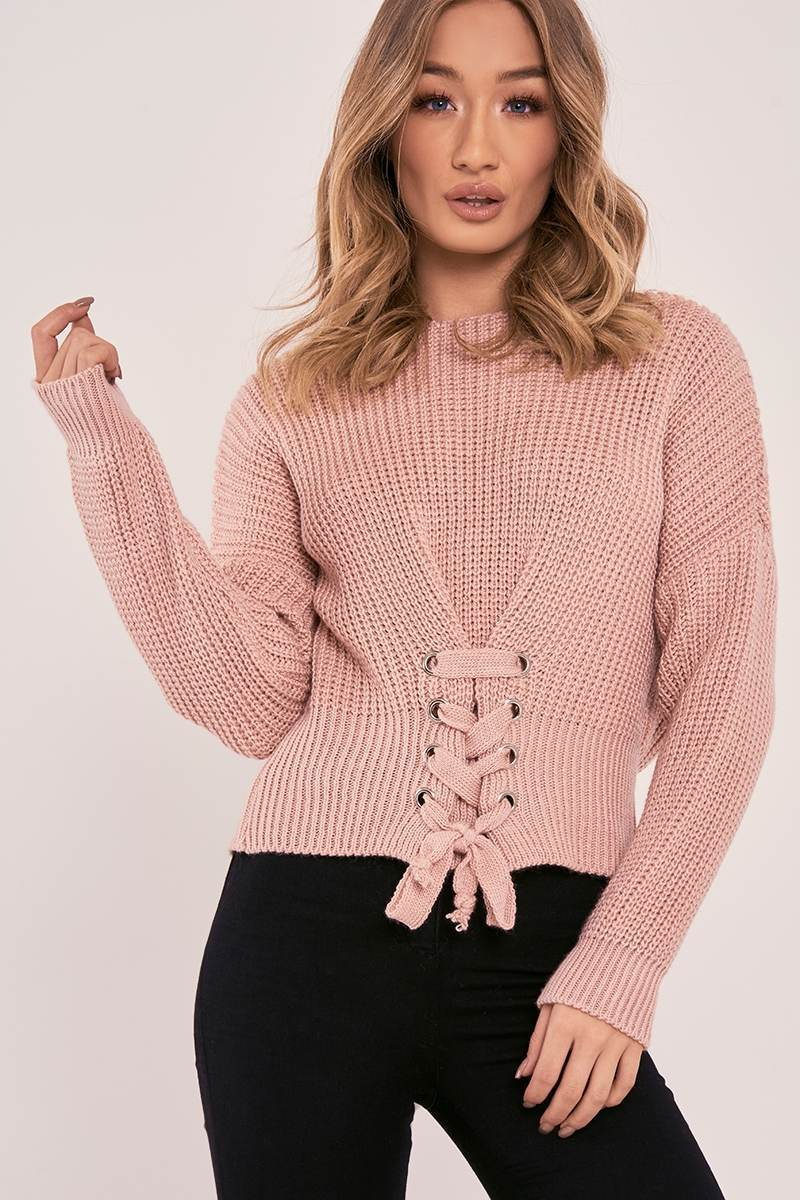 ISABELLIA PINK LACE UP KNITTED JUMPER