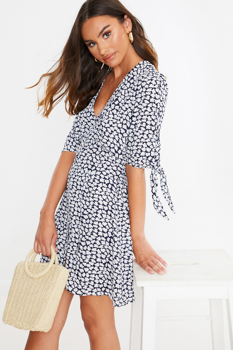 navy floral button down tie sleeve dress