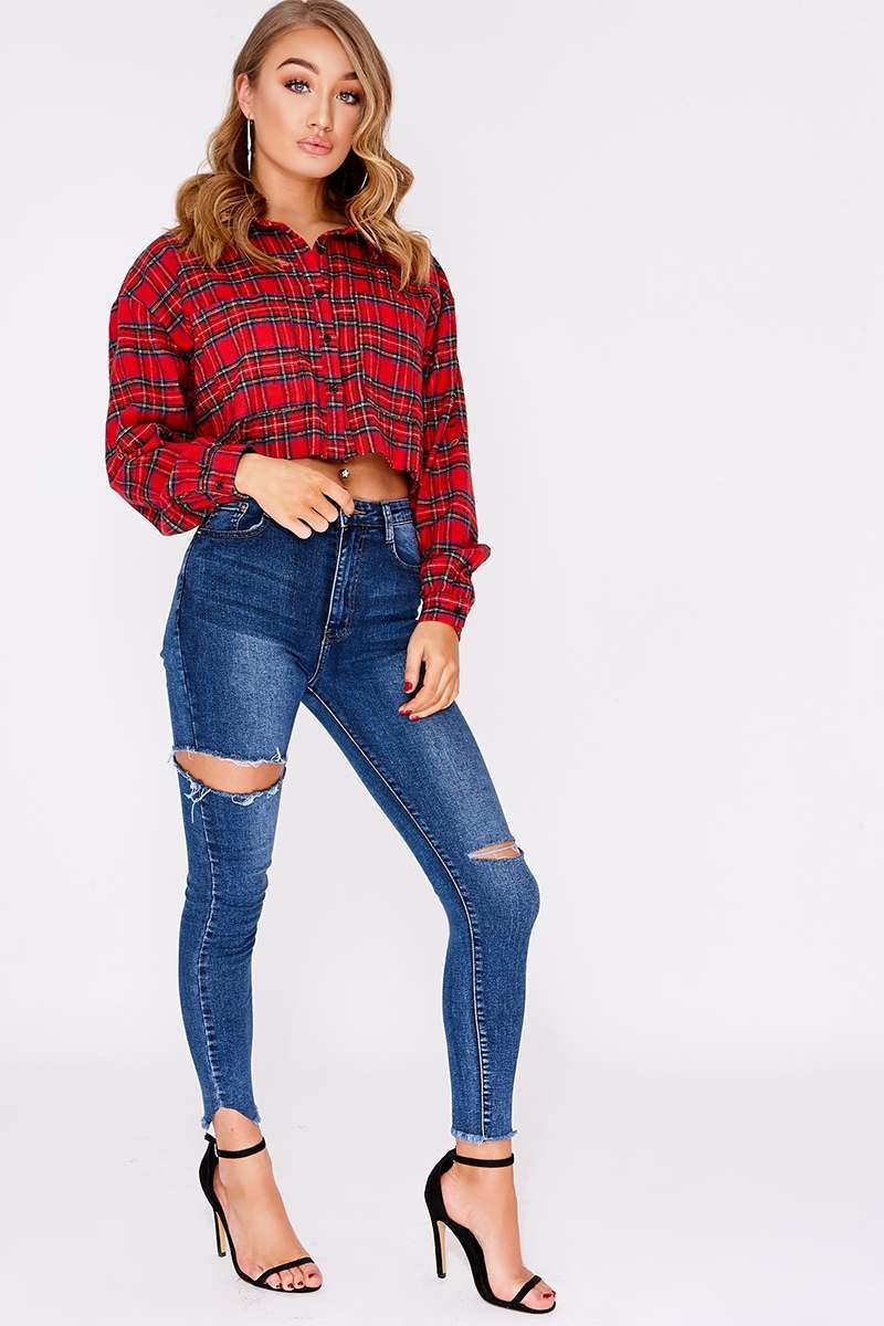 FALIE MID WASH HIGH WAISTED RIPPED SKINNY JEANS