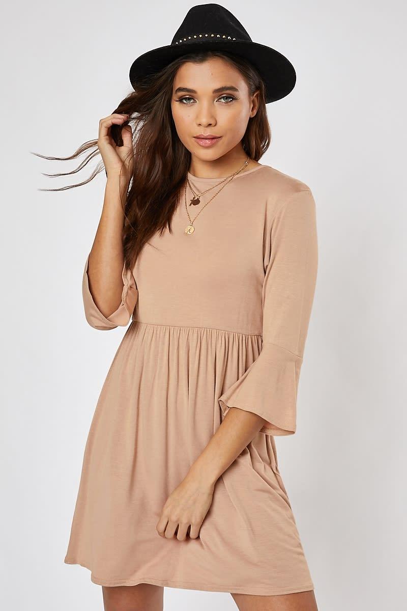 camel jersey smock dress