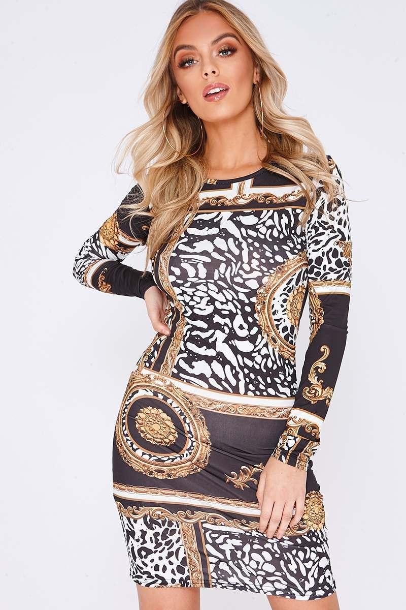 FAYLIN BLACK BAROQUE PRINT LONG SLEEVE BODYCON DRESS