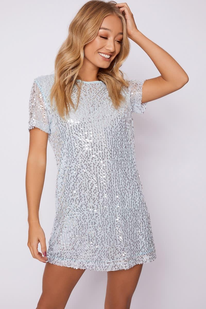 MADELINE BLUE SEQUIN T SHIRT DRESS