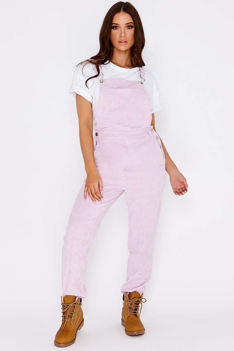 CRESSA LILAC CORD CROPPED DUNGAREES