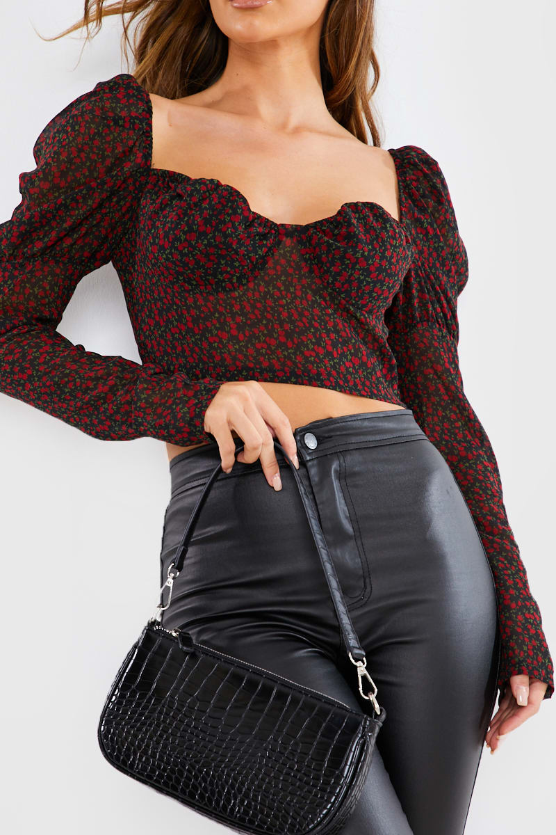 BLACK DITSY FLORAL SHEER PUFF SLEEVE CROP TOP