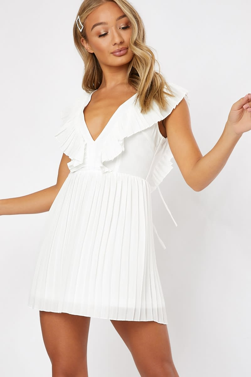 white pleated frill plunge front mini dress