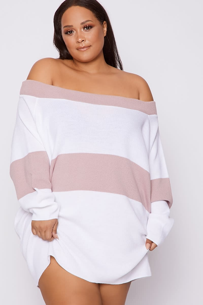 CURVE DANI DYER PINK BARDOT STRIPED JUMPER DRESS