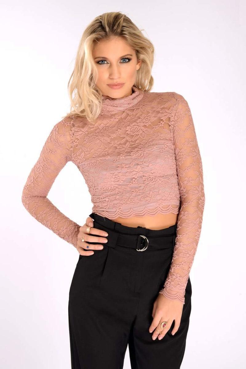 blush lace high neck crop top