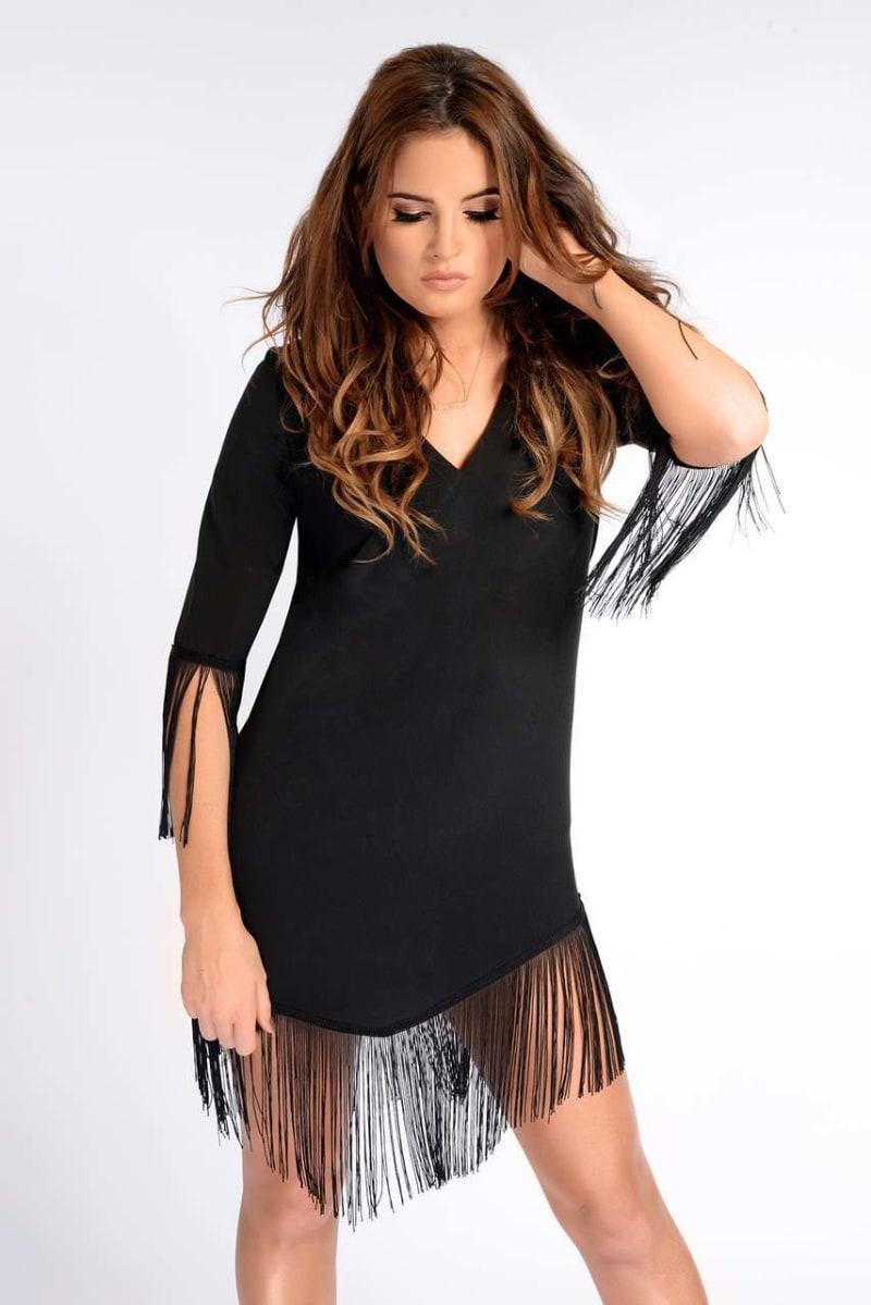 BINKY BLACK TASSEL SHIFT DRESS