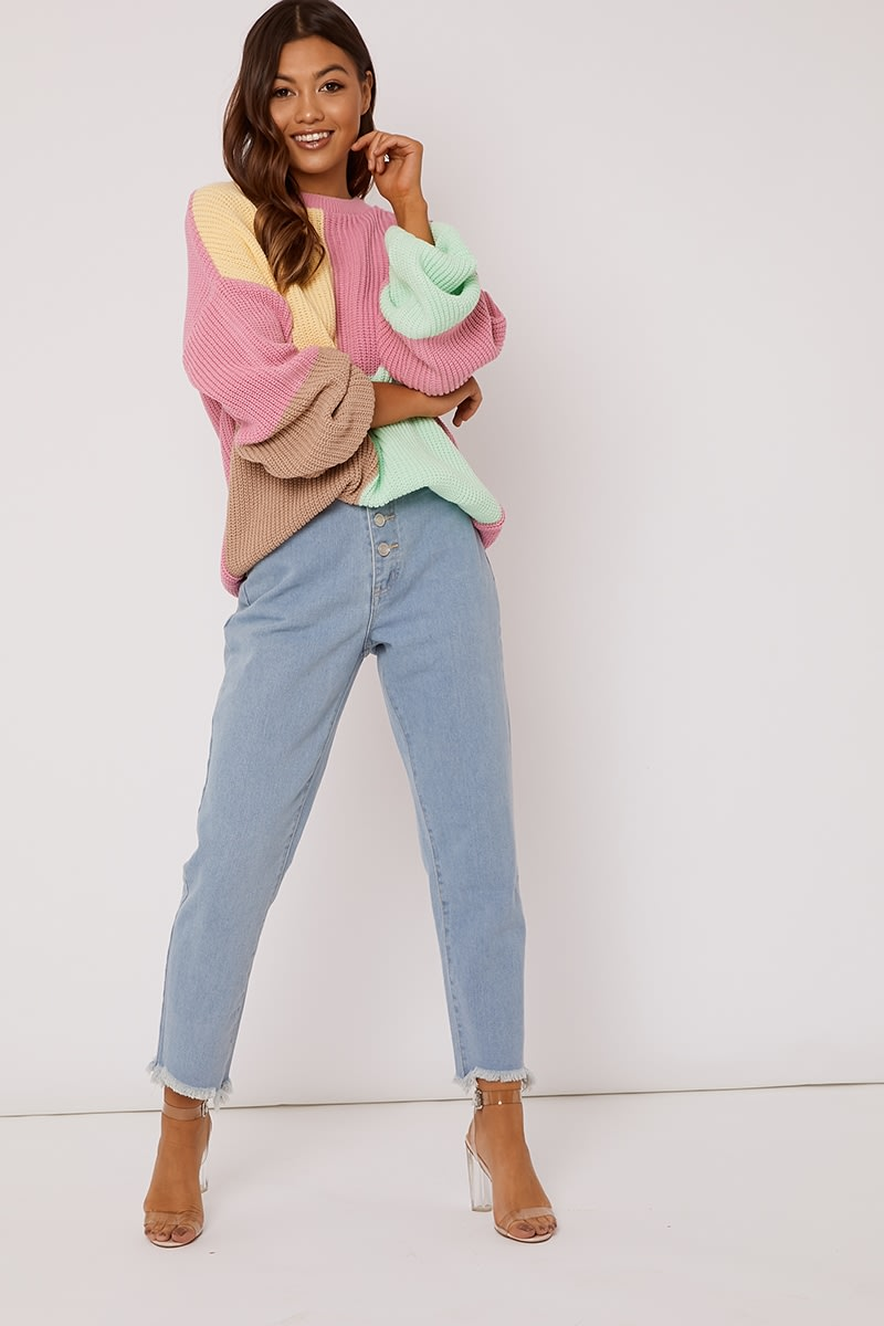 pink colour block oversized knitted jumper