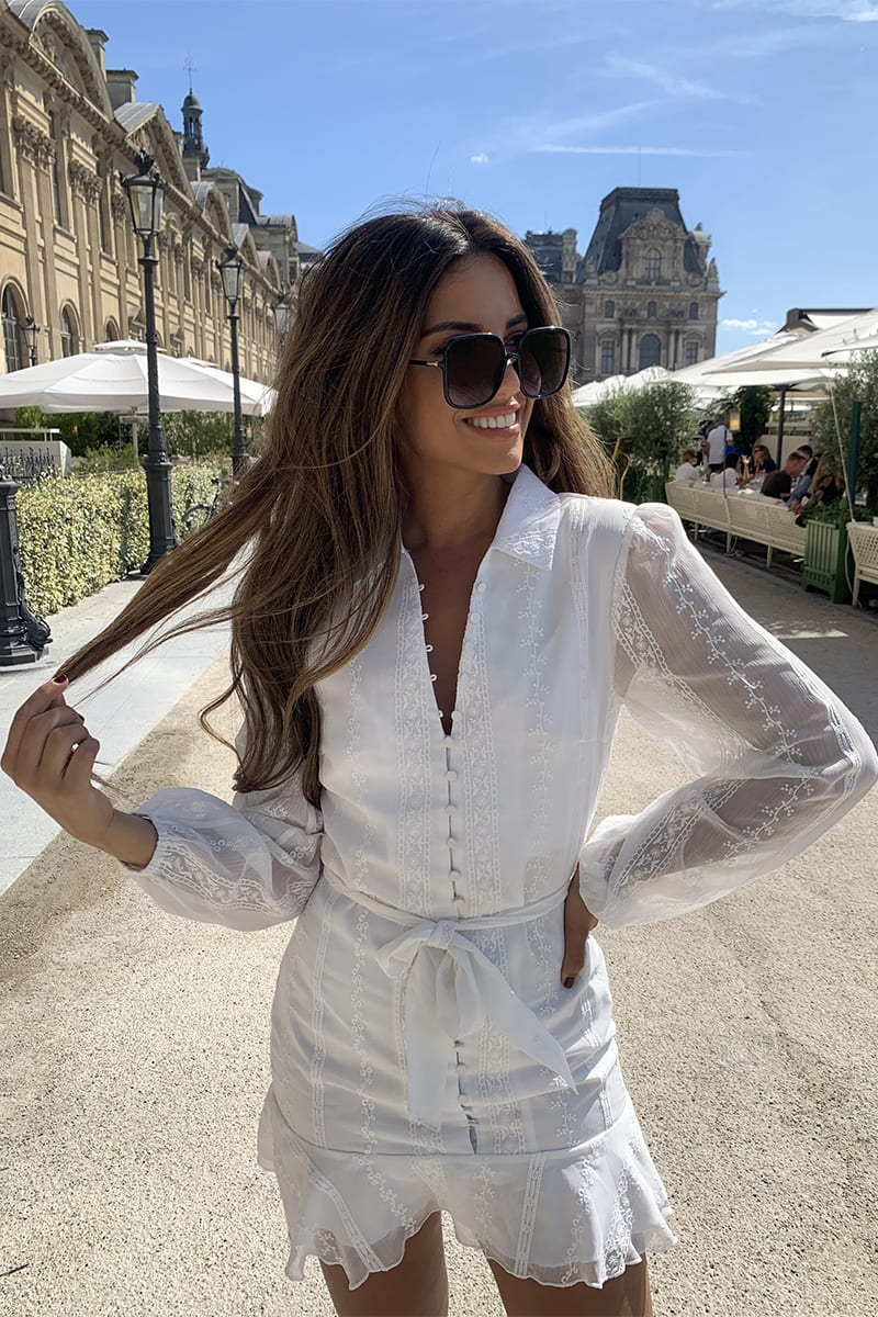 STEPHSA WHITE BRODERIE ANGLAISE BUTTON DOWN MINI DRESS
