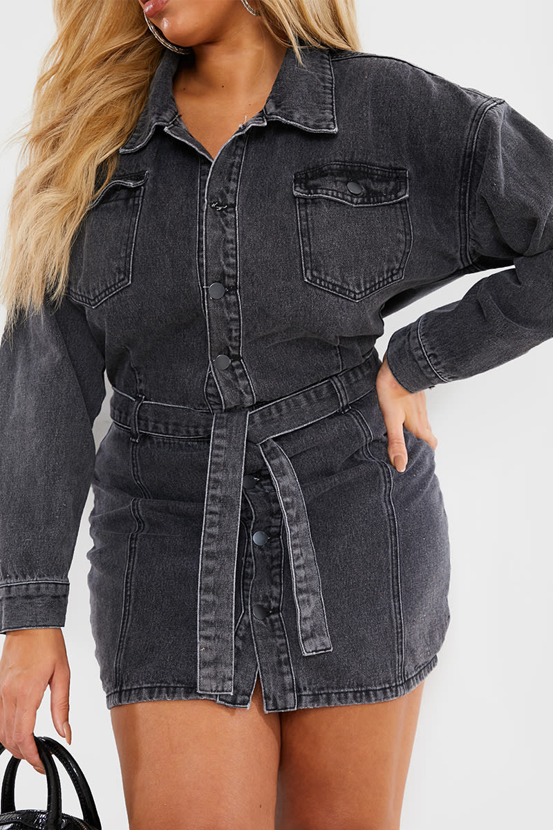 CURVE CHARLOTTE CROSBY GREY WASHED DENIM TIE WAIST DRESS