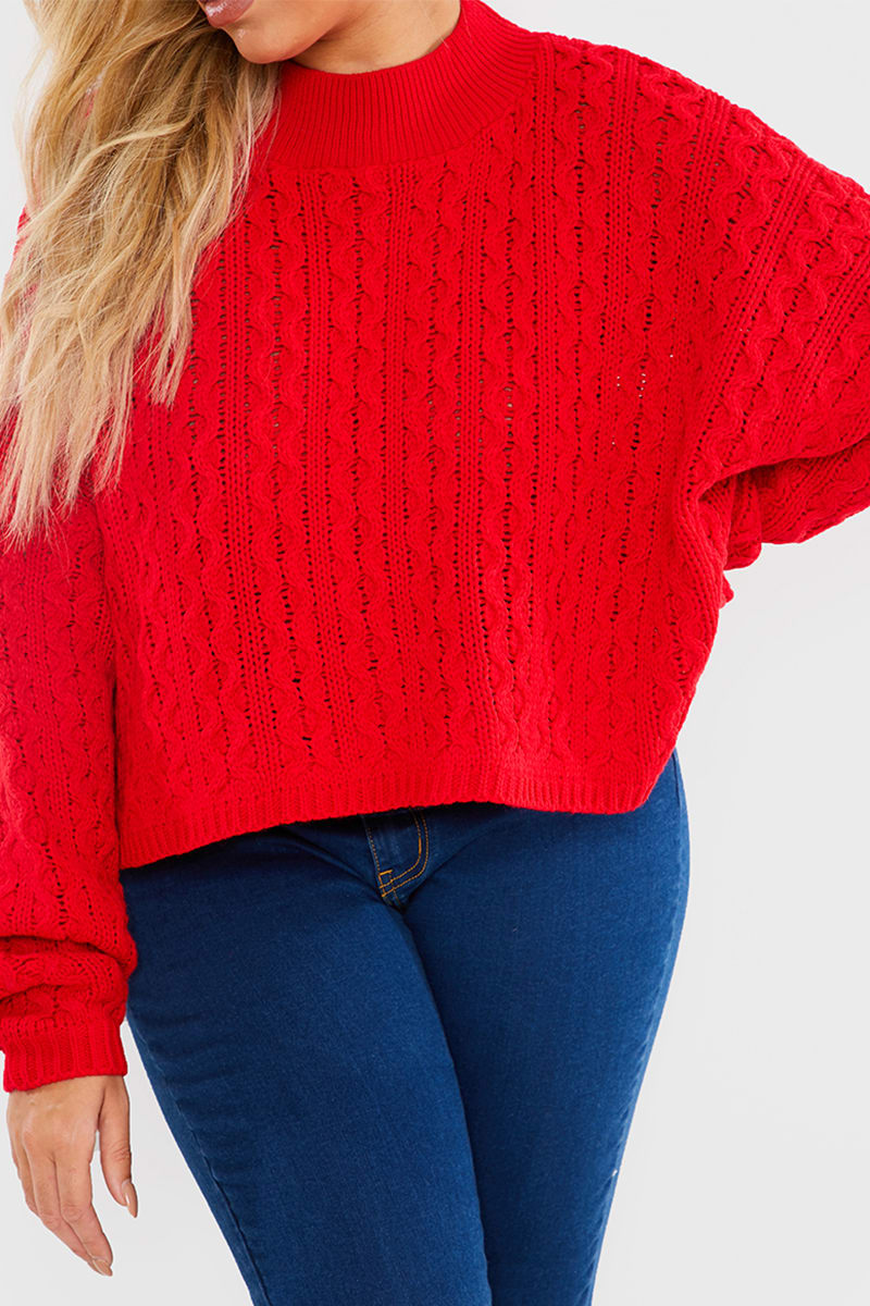 CURVE CHARLOTTE CROSBY RED CABLE BALLOON SLEEVE JUMPER