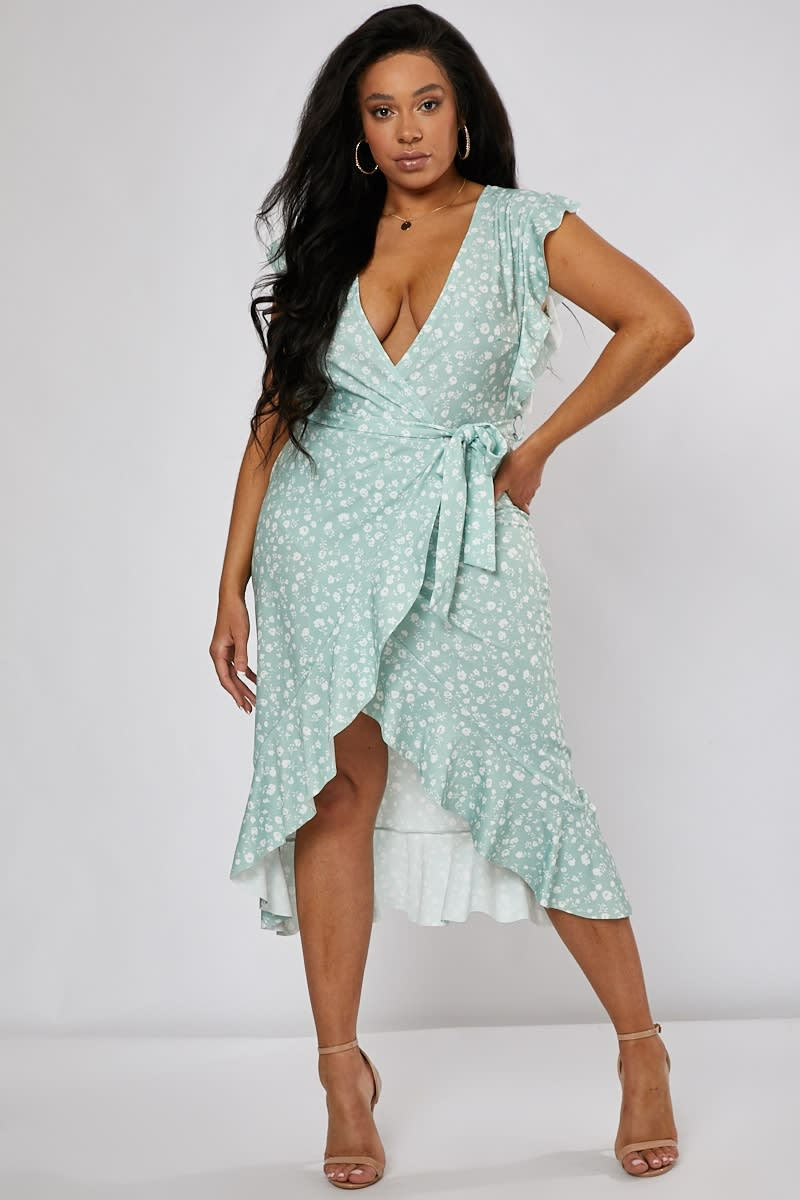 CURVE BILLIE FAIERS SAGE GREEN DITSY FLORAL FRILL WRAP FRONT MIDI DRESS