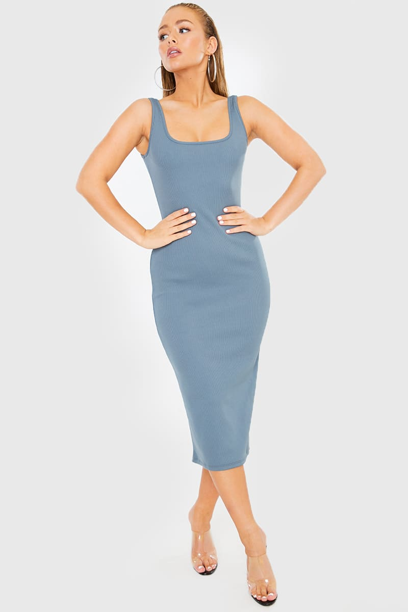 BLUE SQUARE NECK HEAVY RIBBED MIDI DRESS