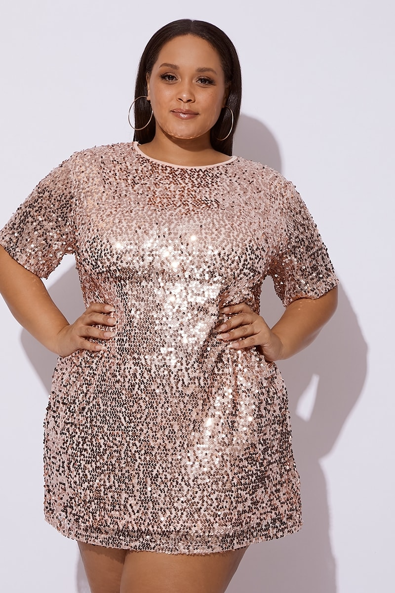 66f4c62f4a CURVE MADELINE ROSE GOLD SEQUIN T SHIRT DRESS | In The Style