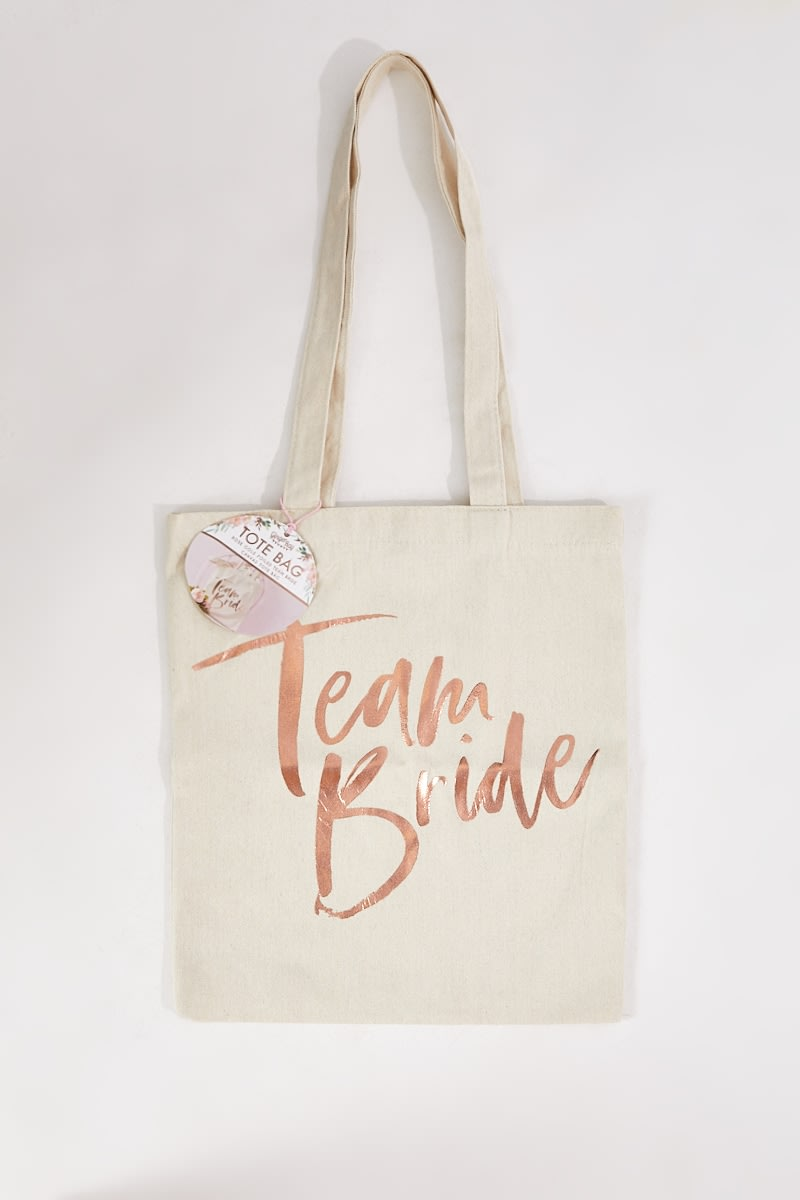 c01b40138 Ginger Ray Rose Gold Printed Team Bride Tote Bag | In The Style