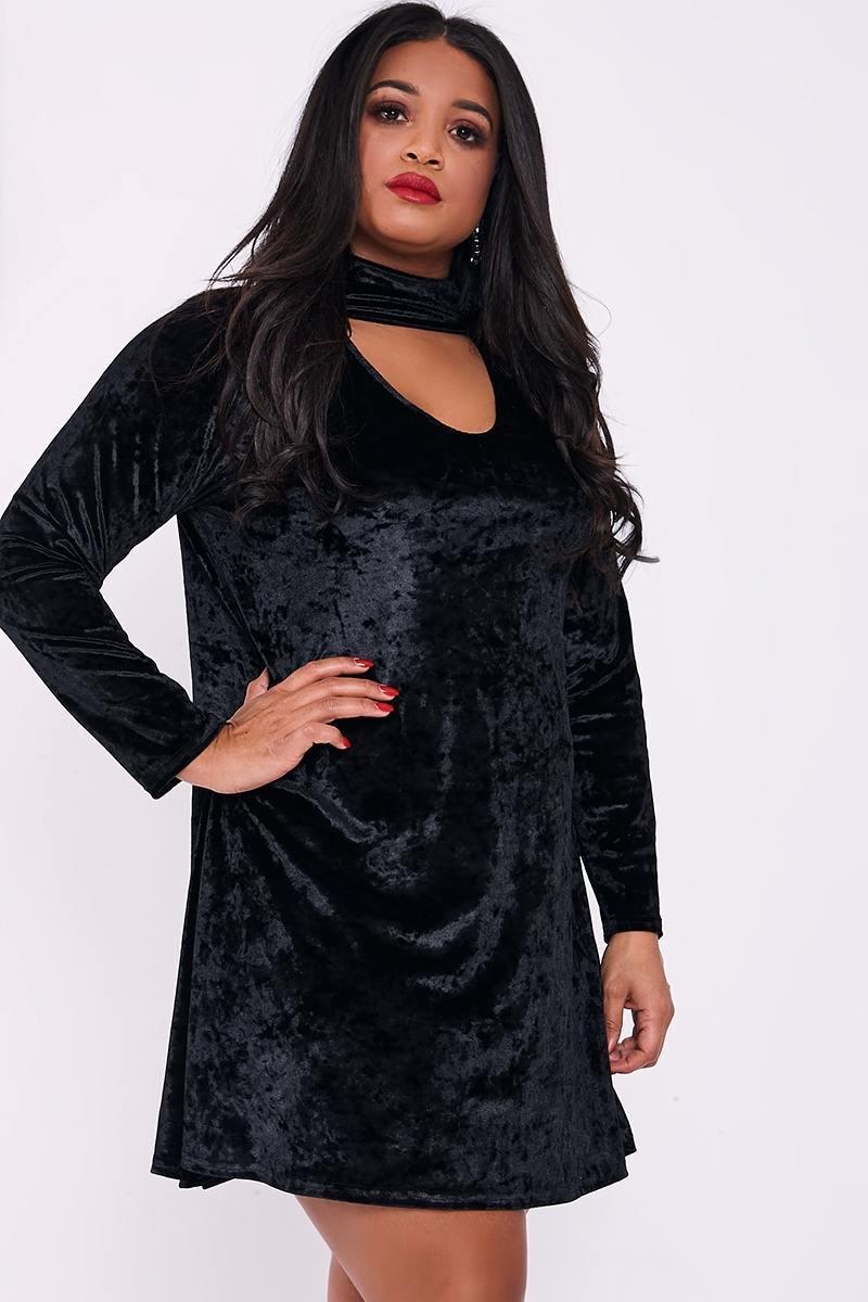 59fecb9bc38ce Curve Livy Black Velvet Choker Neck Swing Dress | In The Style