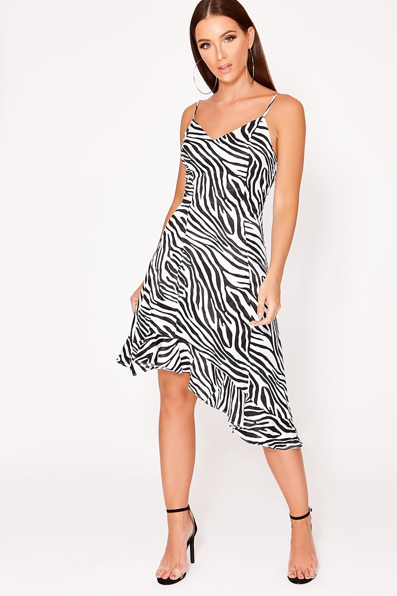 afa0a11833 Arawra White Zebra Print Satin Slip Dress | In The Style