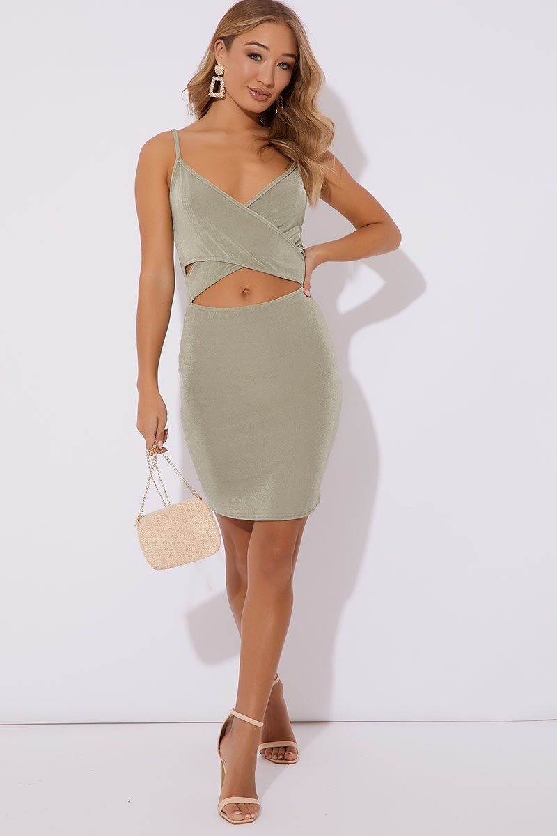 5744a56ead6a71 Sindri Sage Green Slinky Cut Out Mini Dress | In The Style