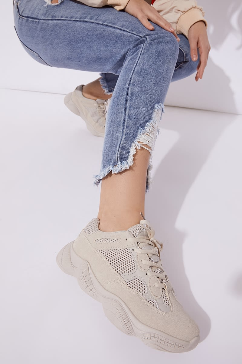 Beige Chunky Trainers   In The Style