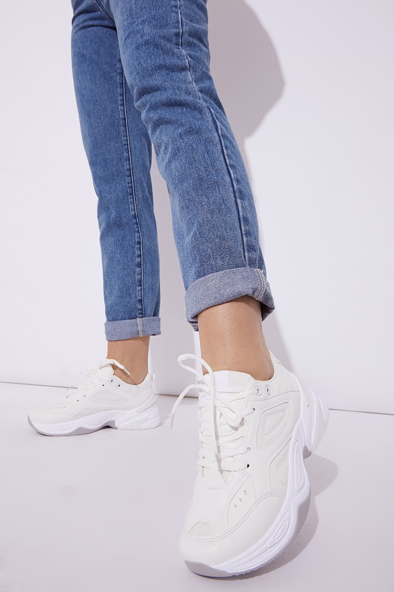 White Chunky Sole Lace Up Trainers | In