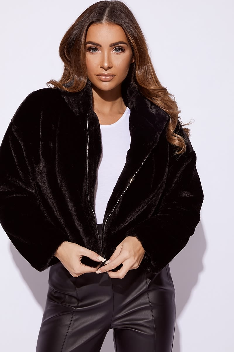 3b17c64e4c8 Ivy Black Faux Fur Hooded Cropped Jacket | In The Style