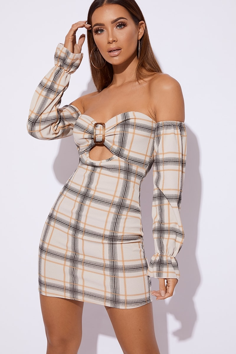 dfeed955ef41 Berie Stone Checked Horn Buckle Bardot Dress   In The Style