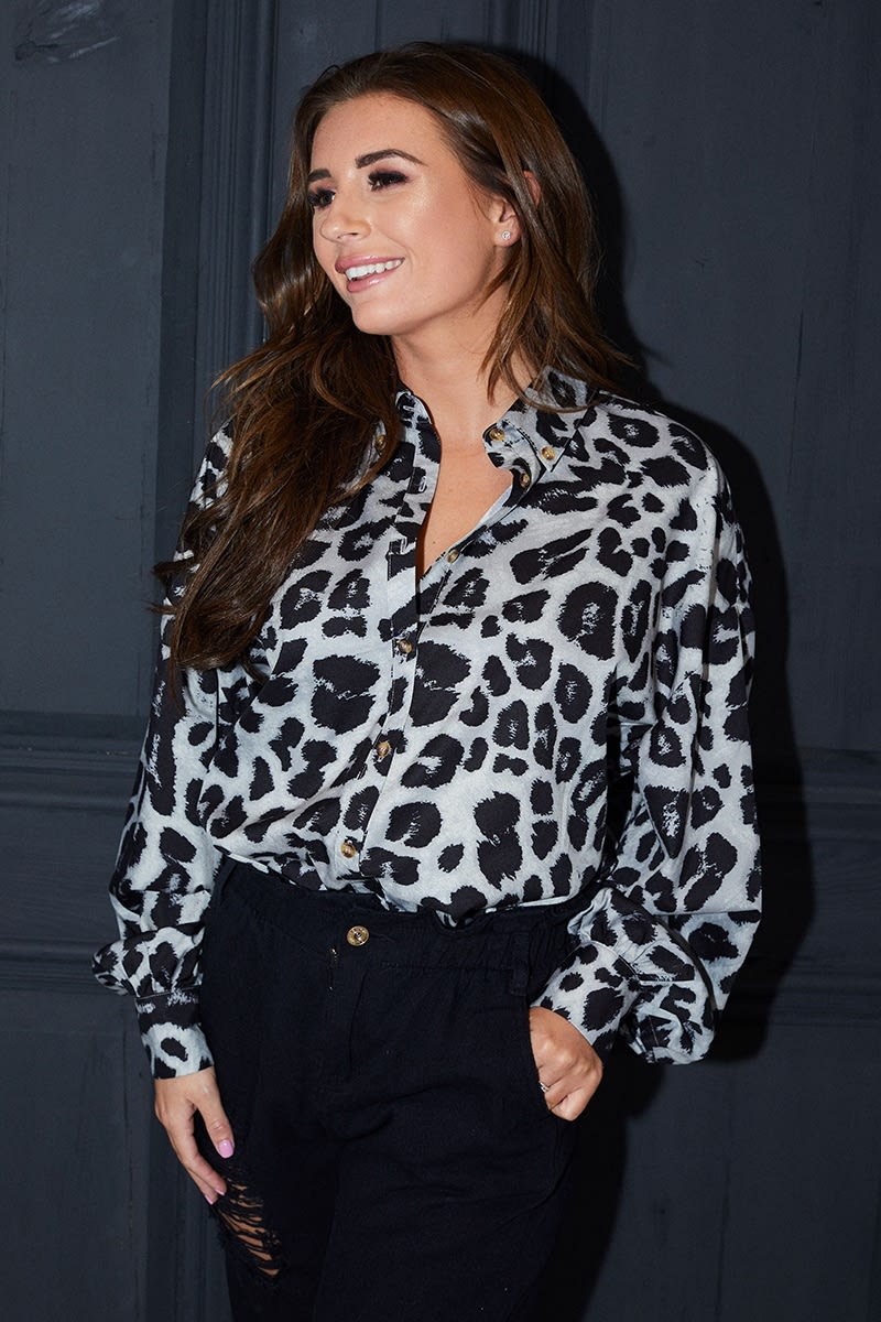 e975b81a Dani Dyer Grey Leopard Print Oversized Shirt | In The Style