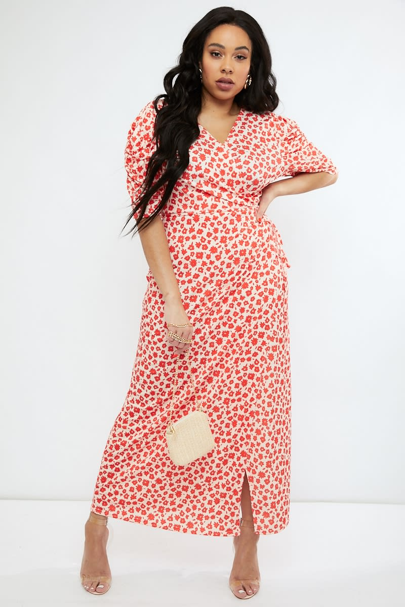 a5148a7ca1 Curve Emily Atack Red Floral Puff Sleeve Wrap Maxi Dress | In The Style