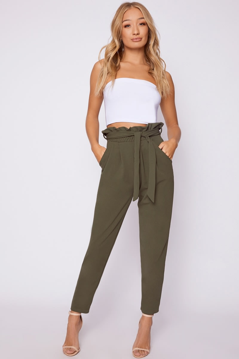 how to buy latest selection newest collection khaki paperbag skinny trousers
