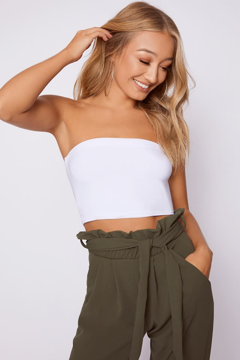 54b9f656e02 Basic Slinky Bandeau White Crop Top | In The Style